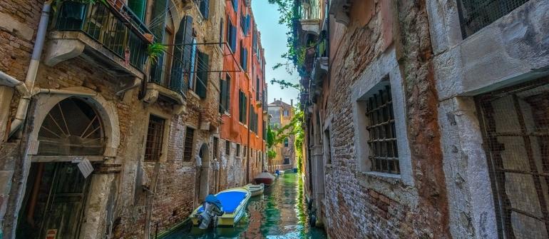 Beautiful river in city